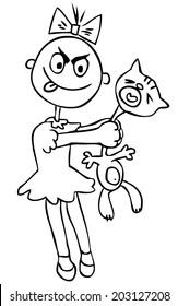 Vector illustration. Children's cruelty. Little girl torturing a cat. humor