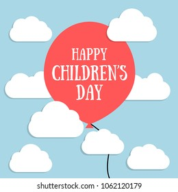 Vector illustration for Children's day. Red balloon on blue sky