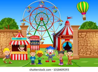 vector illustration of Childrens having fun in amusement park