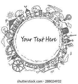 Vector illustration, children's world banner, card concept, white background.