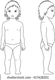 Vector illustration of child's figure. Front and side views