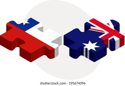Vector illustration of Chile and Australia Flags in puzzle isolated on white background