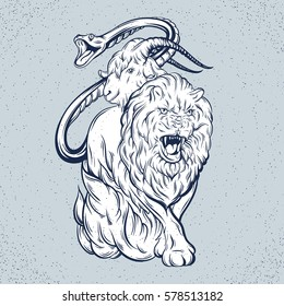 Vector illustration of chimera made in hand drawn style. Mythological magic religion  motif, tattoo design element. Heraldry and logo concept art. Template for card poster banner print for t-shirt.