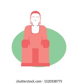 Vector Illustration Of China Leshan Giant Buddha Isolated