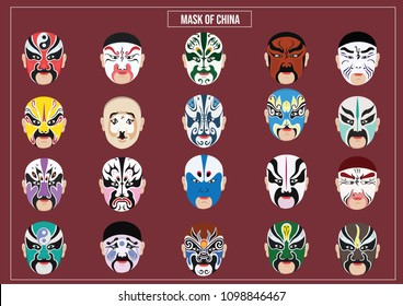 Vector illustration of China mask