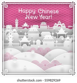Vector illustration of chinatown silhouette on pink outdoor background with oriental vintage pattern frame for chinese new year greeting card, paper cut out style