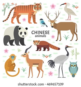 Vector illustration of Chinese animals: panda, red panda, David deer, tiger, crane, monkey, ibis, isolated on white background