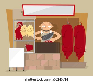 Vector illustration of Chinese barbecue meats shop in Hong Kong