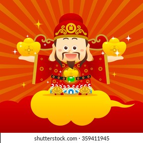 """Vector illustration Chinese Character """"God of Wealth"""". Chinese wording on gold dollar meanings: wish you wealth and success!"""