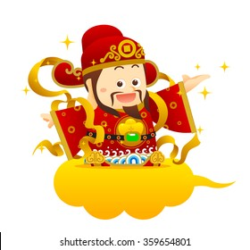 """Vector illustration Chinese Character """"God of Wealth""""."""
