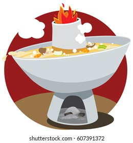 Vector illustration of a Chinese cuisine known as Chinese steamboat.