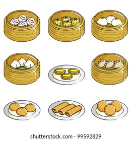 A vector illustration of Chinese dim sum icons