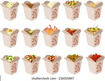 Vector illustration of chinese food in take out boxes.