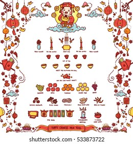 """Vector Illustration of Chinese God of Wealth """"Tsai Shen Yeh"""" Worshiped Offering Sacrifices On Chinese New Year. The Chinese text means """"Good Fortune"""". Doodle Style."""
