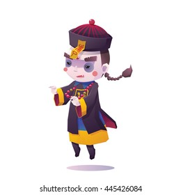 Vector Illustration of Chinese Hopping Vampire Ghost for Halloween on White Background, Cute Character