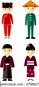 Vector illustration of Chinese, Japanese children, boy, girl. Set of  Chinese, Japanese people dressed in national costumes