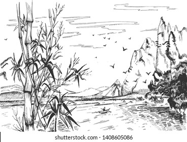 Vector illustration of chinese landscape set. Peaceful natural asian scenery with river, sailor in boat, mountains, pagoda house, birds in sky and bamboo on the front. Vintage hand drawn style.