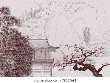 Vector illustration of a Chinese landscape in the style of old chinese painting