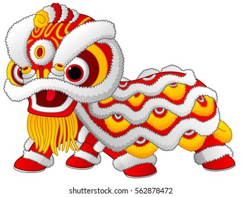 Vector illustration of Chinese lion dance isolated on white background