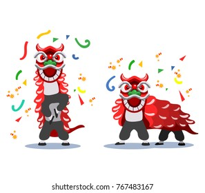 Vector illustration of Chinese lion dance