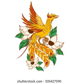 Vector illustration with Chinese phoenix in lotuses