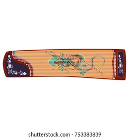 Vector illustration of chinese plucked string musical instrument guzheng isolated on white background. Chinese zither decorated with dragon chinese symbol.