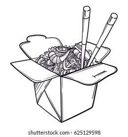 Vector illustration of a Chinese restaurant opened to take out a box filled with noodles, shrimps and chopsticks.
