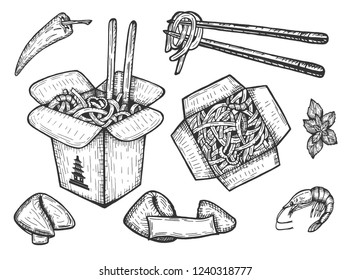 Vector illustration of a Chinese takeaway noodles set. Fortune cookies with empty note, macaroni, rice, spicy seafood, shrimp, chili. Top and perspective view box with chopsticks.
