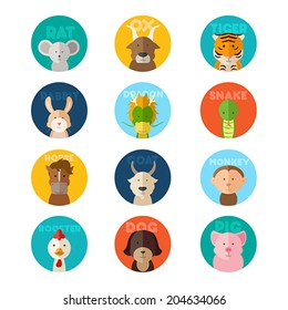 A vector illustration of Chinese zodiac animal icons