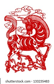 Vector illustration of Chinese zodiac signs: horse