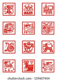 Vector illustration of Chinese zodiac signs