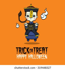 Vector Illustration of Chinese Zombie Costume on Halloween.
