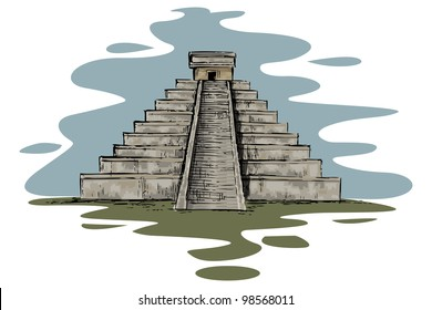 vector illustration of Chinhen Itza monument