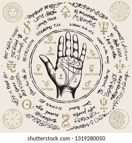 Vector illustration with chiromancy hand, ancient hieroglyphs, medieval runes, spiritual symbols. Palmistry map on open palm with signs of the planets. Divination and prediction of the future