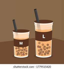 Vector illustration of chocolate boba with tapioka pearls on brown background. There are two sizes, medium and large cup with straw. Sweet dessert for kids, wallpaper, cover, poster, banner, advert.
