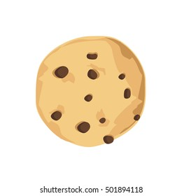 Vector illustration chocolate chip cookie. Freshly baked choco cookie icon