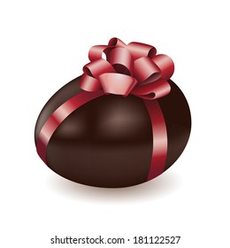 Vector illustration of chocolate egg with red bow