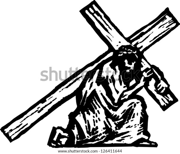 Vector illustration of Christ carrying the cross