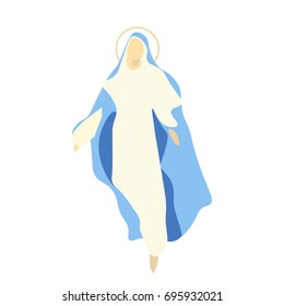 Vector illustration for Christian Community: Saint Mary the Virgin, or the Mother of God. Great as an illustration for The Assumption, The Nativity or the Birth of the Blessed Virgin Mary.