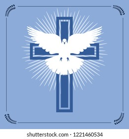 Vector illustration of christian cross and radial light with flying white dove representing the concept of peace and brotherhood