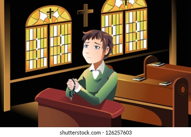 A vector illustration of a Christian man praying in the church