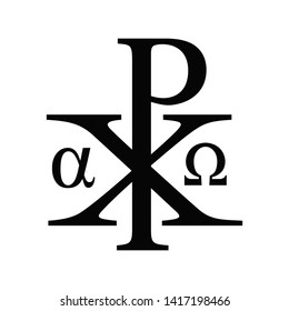 Vector illustration of the christian sacred Chi Rho symbol- Alpha and Omega version. Christ black monogram icon isolated on white background