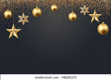 vector illustration of christmas 2017 background with christmas ball star snowflake confetti gold and black color