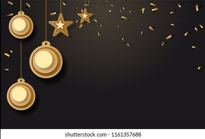 vector illustration of christmas background with christmas ball star snowflake confetti gold and black colors lace for text 2019. Vector illustration.