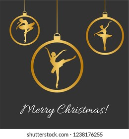 Vector Illustration with Christmas balls, dancing balerina silhouette and Merry Christmas text in black and gold colors. Perfect for greeting cards design, beauty posters, fashion banners. Eps10