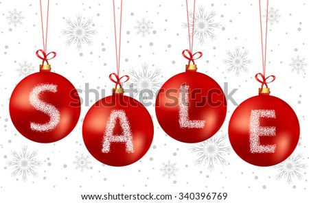 vector illustration of christmas bubbles sale text used gradient mesh on bubbles