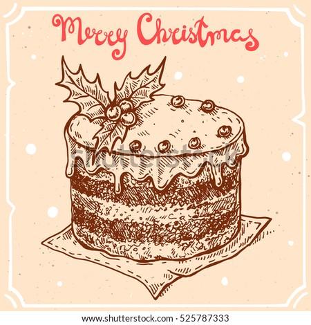Vector Illustration Christmas Caketext Merry Christmas Stock Vector