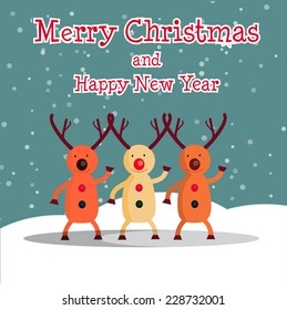 vector illustration Christmas card with reindeer funny dances