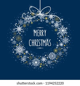 Vector illustration of Christmas card with shining snowflakes, snow, stars, glitter and wishing text. New Year greeting card. Christmas shine effect. Winter background for banner, poster, cases.