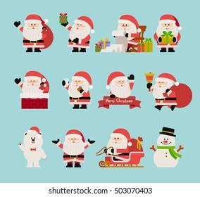 vector illustration - Christmas Character set of santa claus.